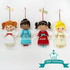 doll ornament digital pattern stitched felt ornament