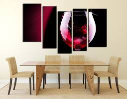 5 piece canvas wall art red rose huge canvas prints champagne