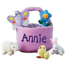 plush easter basket personalized easter basket with 5 plush toys lillian vernon