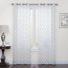 Hypoallergenic Curtains Court 2 Pack Fret Embroidery Window Curtains