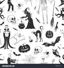 halloween skull pumpkin background vector seamless pattern characters symbols halloween stock vector