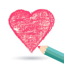 pencil hand drawn sketch heart vector background template stock