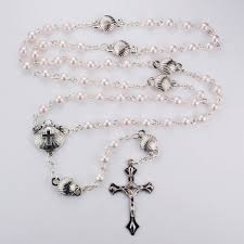 baptism rosary mcvan pink pearl shell baptism rosary with box of