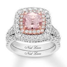 morganite bridal set neil morganite bridal set 1 5 8 ct tw diamonds 14k gold