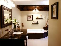 neutral bathroom with dark wood accents this contemporary bathroom