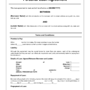 private personal loan agreement contract template and promissory