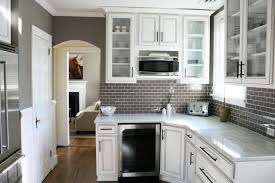 small kitchen backsplash small kitchen designed with white cabinets and grey subway tile
