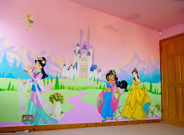 disney princess mural hand painted in little u0027s bedroom