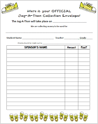 Pledge Sheets For Fundraising Template by Jog A Thon Collection Form From Finding In 6th Grade