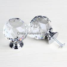 50mm clear crystal glass door knob kitchen cabinet handles