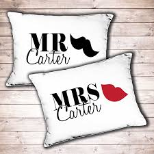 his and hers wedding gifts personalised mr and mrs wedding gift pillowcase set his and hers