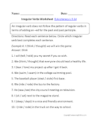 Helping Verb Worksheets Irregular Verbs Worksheet 1 Ela Literacy L 3 1d Language Worksheet