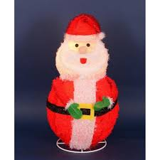 24 lighted 3 d chenille jolly santa claus outdoor yard