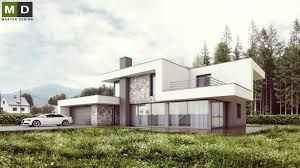 luxury low energy house with white plaster and stone facing
