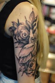roses arm sleeve tattoo owl with roses black and gray tattoo on upper sleeve tattoo by