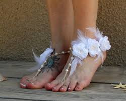wedding barefoot sandals couture barefoot wedding sandals with white feather accents and
