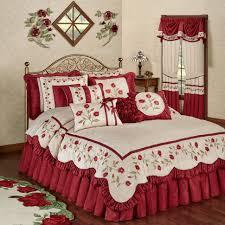 Ivory Comforter Set King Bedding Red Bedroom Comforter Set Ivory Bedspread Red Coverlet