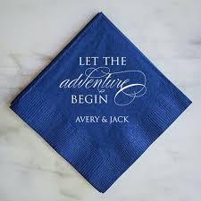 wedding cake napkins let the adventure begin personalized napkins wedding napkins