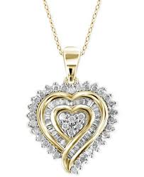 diamond heart gold necklace images Macy 39 s diamond heart pendant necklace 1 2 ct t w in 18k gold tif