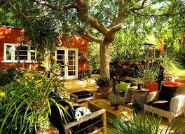 comfortable backyard landscaping ideas with cozy sofa set and nice
