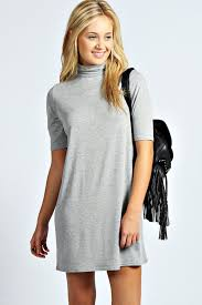 debi turtle neck t shirt dress boohoo turtle and gray
