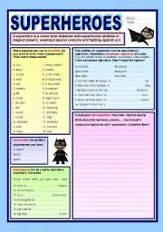 english worksheets a superhero s daily routines reading writing