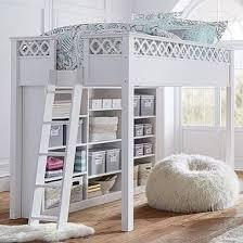 loft bed full white bookshelf pbteen 1199 u0027s bedroom