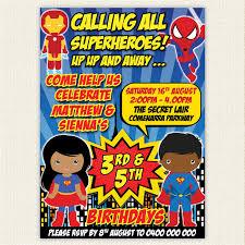 twin joint superhero birthday invitation printable african