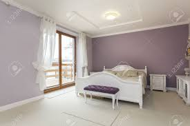 tuscany interior of purple bedroom with white furniture stock tuscany interior of purple bedroom with white furniture stock photo 18857405