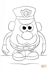 mr potato head police officer coloring page free printable