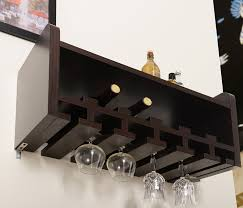 wall mounted furniture amazon com iohomes venire wall mounted wine rack and glass holder