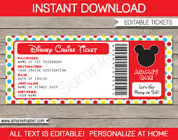 ticket template disney cruise gift ticket mickey mouse boarding pass