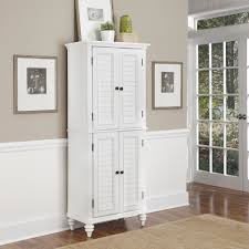 short kitchen pantry standing high white wooden pantry cabinet having two layer storage