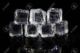 stacked cubes crystal table l ice cubes reflection on black table background stock photo picture