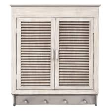 louvered wall cabinet whitewashed finish by mcs industries