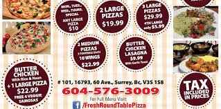how much is a medium pizza at round table fresh round table pizza and curry house pizza place surrey