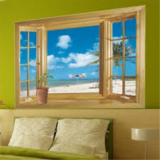 home decor 3d stickers amazon com 3d beach window view removable wall stickers vinyl