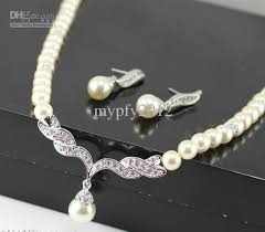 pearls silver necklace images New arrival rose silver gold plated drop pearl and rhinestone jpg