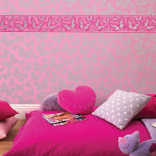 girls wallpaper themed bedroom unicorn stars heart glitter chic