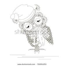 monochrome sketch sleepy owl candle pillow stock vector 702951253