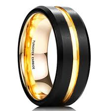 men s wedding band 8mm unisex or men s tungsten wedding band black and 18k yellow