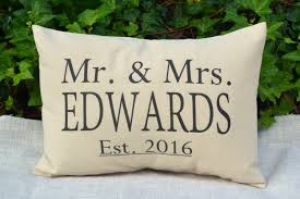 personalized pillow mr mrs personalized pillow with establishment date the hudson