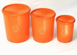 orange kitchen canisters vintage orange tupperware canister set 3 containers 3 lids