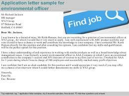 Resume Letter For Job Application by Environmental Officer Application Letter