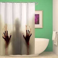 Polyester Shower Curtains Horror Bloody Shadow Shower Curtain 3d Print
