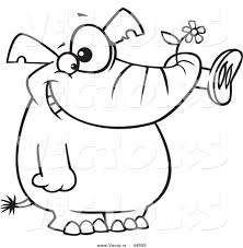 vector of a giddy cartoon elephant holding a flower in his trunk