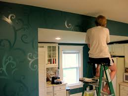 natural green painted wall accents for kitchen interior design
