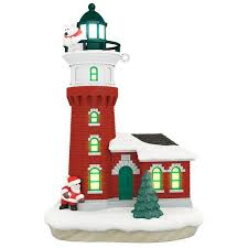 santa and polar lighthouse ornament with light