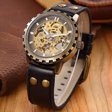 brand leather band men male military clock automatic skeleton