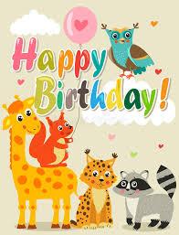 Meme Happy Birthday Card - happy birthday card with funny animals vector illustration happy